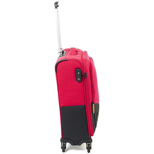Маленький розово-черный чемодан 55x40х20см Roncato Adventure на 4х колесах, фото