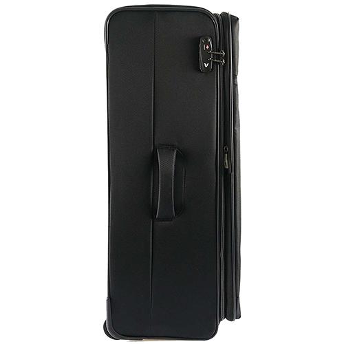Большой чемодан черного цвета 78х48х29-32см Roncato Ironik закрывается на молнию, фото