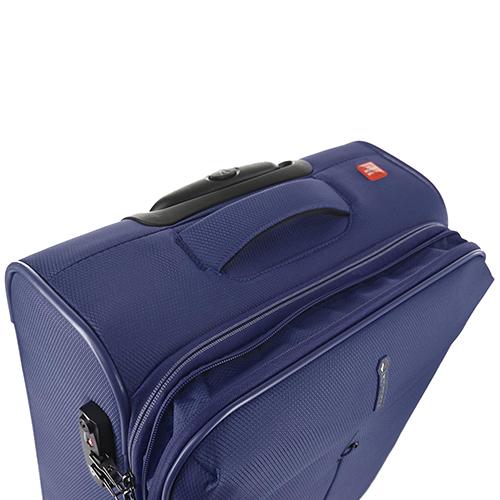 Маленький чемодан синего цвета 55х40х20-23см Roncato Ironik с замком блокировки TSA, фото