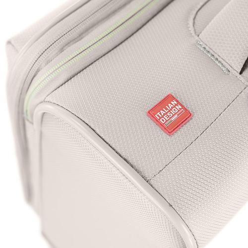 Маленький бежевый чемодан 55х40х20-23см Roncato Ironik с функцией расширения, фото
