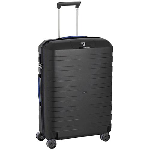 Набор чемоданов Roncato Box с корпусом черного цвета с синим декором, фото