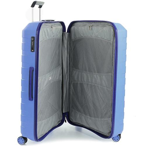 Синий чемодан 78х50х30см Roncato Box 2.0 большого размера с выдвижной ручкой, фото