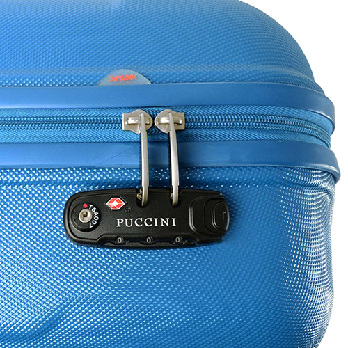 Чемодан голубого цвета 55х39х20см Puccini PC015 размера ручной клади, фото