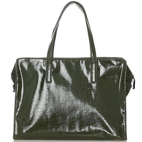 Лаковая дорожная сумка Ermanno Scervino Daria цвета хаки, фото