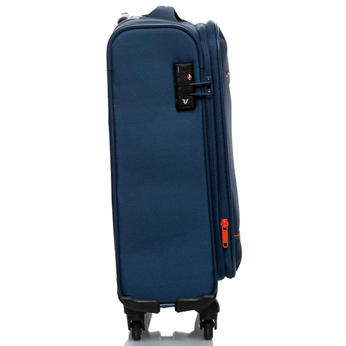 Синий маленький чемодан 55х35х20см Roncato Jazz с функцией расширения, фото