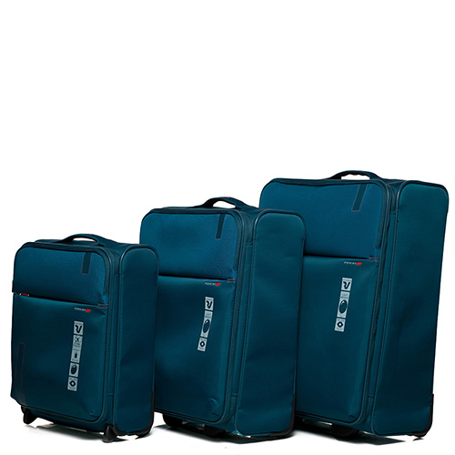 Маленький дорожный чемодан 55х40х20-23см Roncato Speed синего цвета с функцией расширения, фото