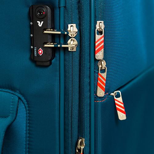 Большой дорожный чемодан 78х48х29-32см Roncato Speed синего цвета 4-х колесный, фото