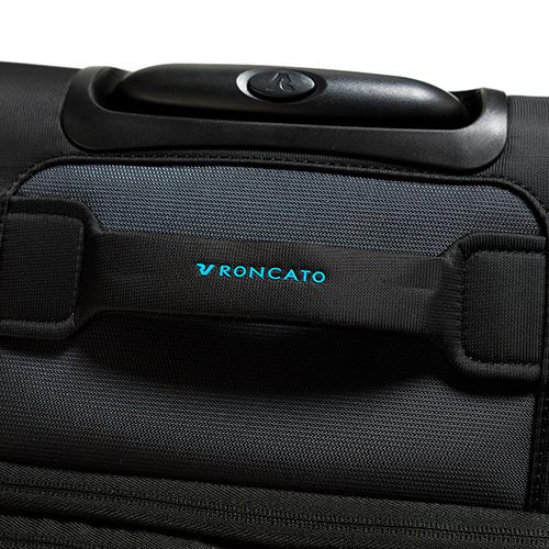 Дорожный чемодан среднего размера 67х44х27-31см Roncato Speed черного цвета 4-х колесный, фото
