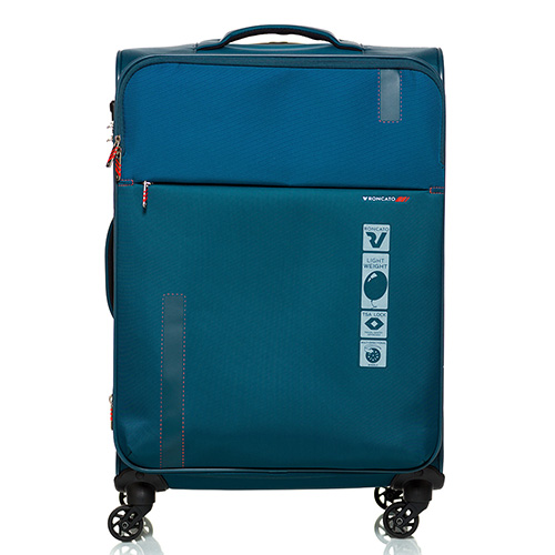 Дорожный чемодан среднего размера 67х44х27-31см Roncato Speed синего цвета  4-х колесный, фото