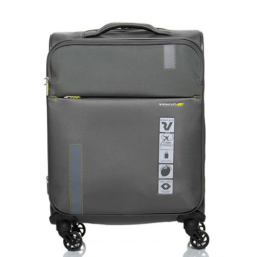 Маленький дорожный чемодан 55х40х20-23см Roncato Speed цвета антрацит с функцией расширения, фото