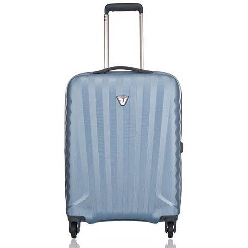 Чемодан пластиковый на колесах 40х55х20см Roncato Uno Zip малый голубой, фото