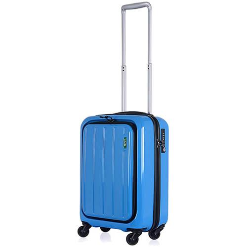 Синий небольшой чемодан 35,5х55х23см Lojel Lucid с внешним органайзером на молнии, фото