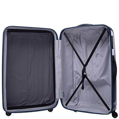 Большой синий чемодан 50,5х76,5х30см Lojel Wave с глянцевым покрытием и колесиками на шарнирах, фото