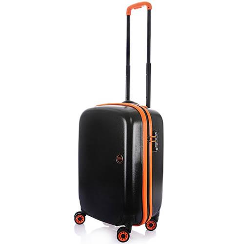 Маленький черный чемодан 36х55х23,5см Lojel Nimbus на колесиках с оранжевым кантом, фото