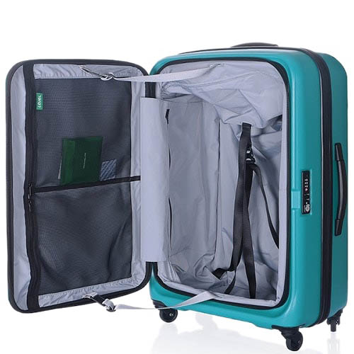Большой зеленый чемодан 51х73,5х30,5(33,5)см Lojel Hatch на колесиках и с функцией регулирования размера, фото