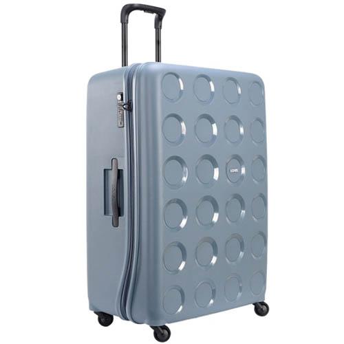 Голубой вместительный чемодан 55,8x80x34,5см Lojel Vita очень большого размера с тисненными кругами, фото