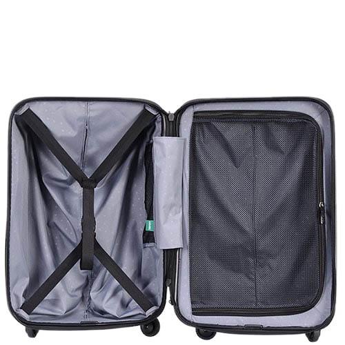 Большой вместительный чемодан 55,8x80x34,5см Lojel Vita красного цвета с тисненными кругами, фото
