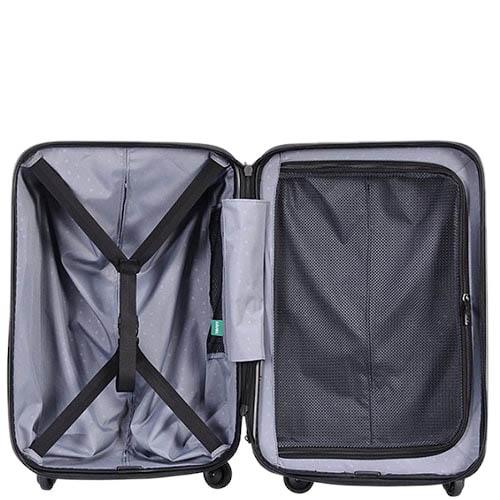 Большой чемодан 49х70,4х29,3см Lojel Vita черного цвета с тисненными кругами и выдвижной ручкой, фото