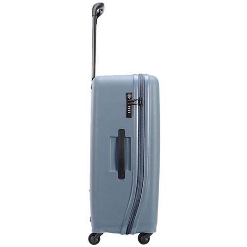 Большой тисненный чемодан 49х70,4х29,3см Lojel Vita синего цвета с телескопической ручкой, фото
