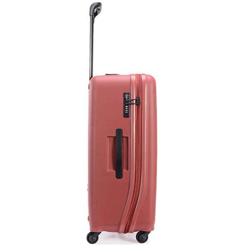 Большой красный чемодан 49х70,4х29,3см Lojel Vita с тисненными кругами и выдвижной ручкой, фото