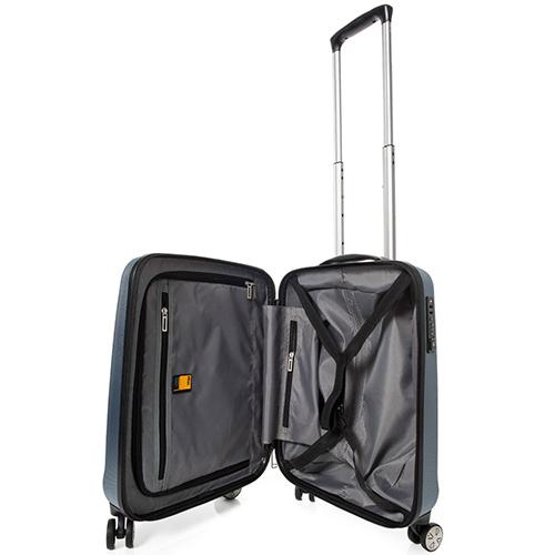 Маленький чемодан 55x38х20см Titan Xenon синего цвета с замком блокировки TSA, фото