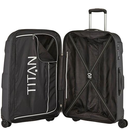 Черный чемодан среднего размера 71x48x28см Titan X2 с гаптическим эффектом, фото