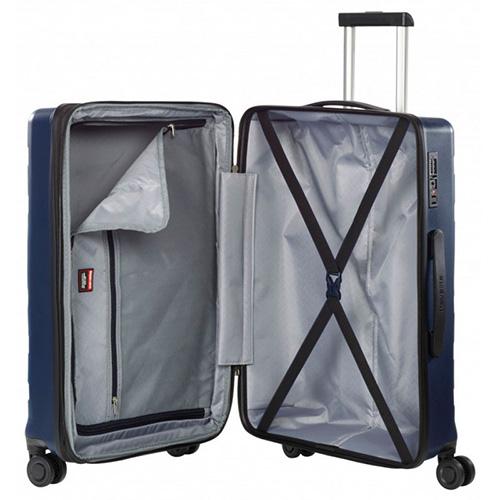 Темно-синий чемодан 45x67x27-31см Travelite Kosmos на колесах, фото