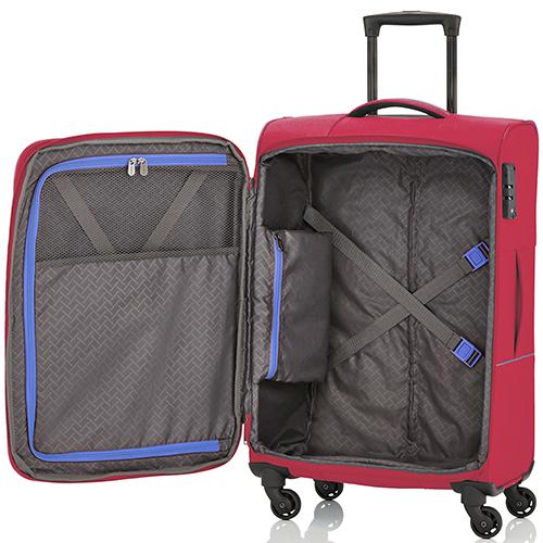 Большой чемодан красного цвета 77x47х30-34см Travelite Solaris на молнии, фото