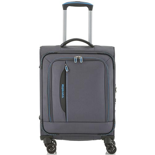 Текстильный маленький чемодан 55x39х20см Travelite Crosslite темно-серого цвета, фото