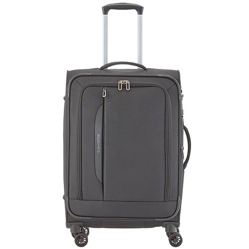 Серый чемодан 67x43x26-30см Travelite Crosslite с удобными мягкими ручками, фото