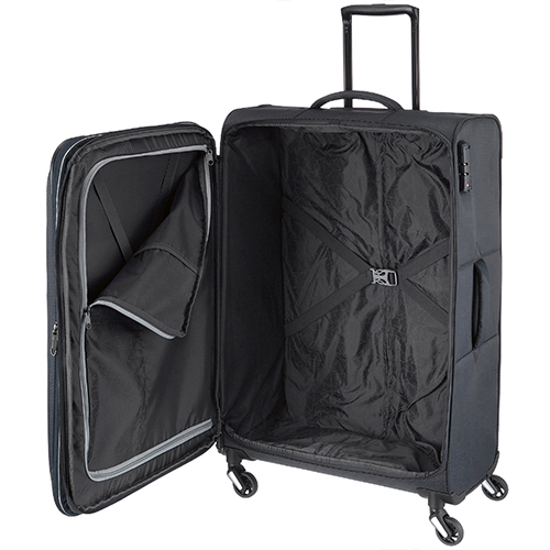 Большой чемодан 75x47х29-33см Travelite Kite черного цвета с выдвижной ручкой, фото