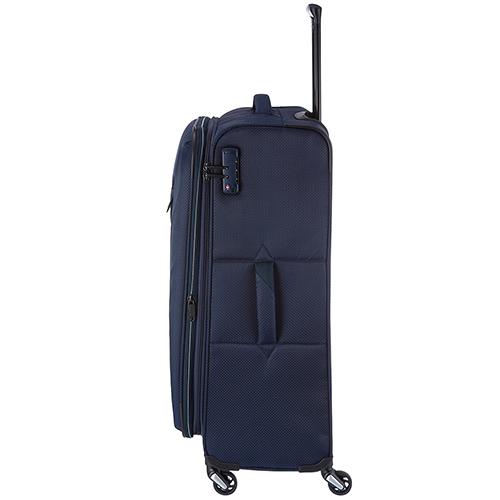 Темно-синий текстильный чемодан 75x47х29-33см Travelite Kite для путешествий, фото