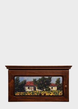 Ключница Decor Toscana Дома и подсолнухи 35х19х7см с пейзажным рисунком , фото