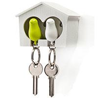 Настенная ключница с двумя брелоками Qualy Duo Sparrow Qualy белая с зеленым, фото