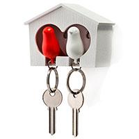 Настенная ключница с двумя брелоками Qualy Duo Sparrow Qualy белая с красным, фото
