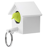 Ключница настенная и брелок для ключей Qualy Cuckoo белая с зеленым, фото