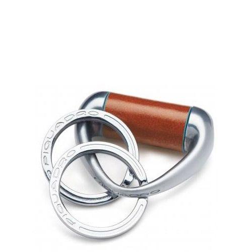 Брелок цилиндр Piquadro с 2 кольцами Blue Square рыжий, фото