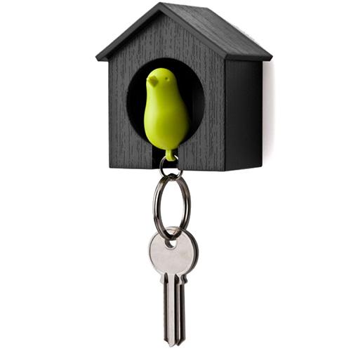 Ключница настенная Qualy Sparrow с зеленым брелоком, фото