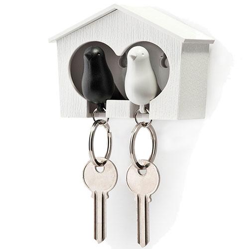 Настенная ключница с двумя брелоками Qualy Duo Sparrow Qualy белая с черным, фото