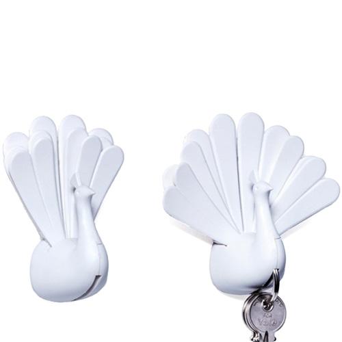 Настенная ключница Qualy Peacock белый павлин, фото