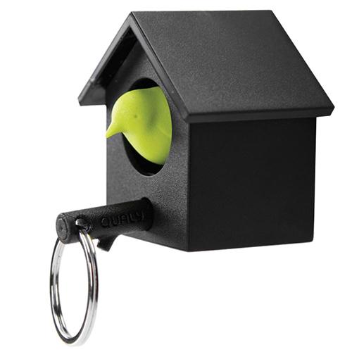 Ключница настенная и брелок для ключей Qualy Cuckoo черная с зеленым, фото