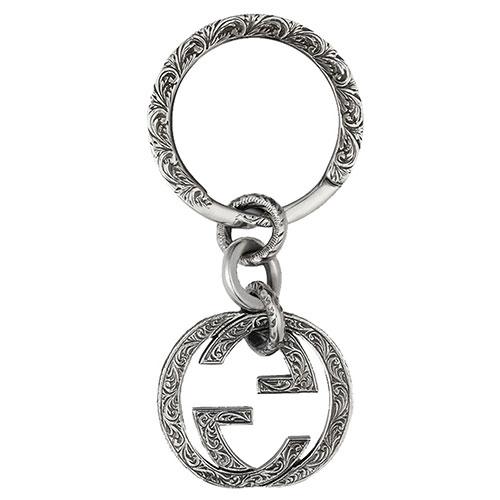Серебряный брелок GucciInterlocking G с подвеской-логотипом и рисунком, фото