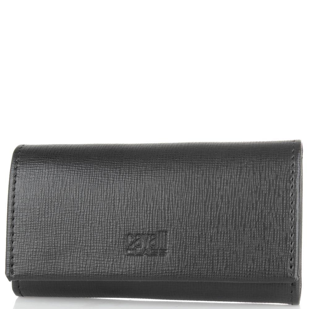 Ключница Cavalli Class Astoria черного цвета из кожи фактуры сафьян на 6 ключей