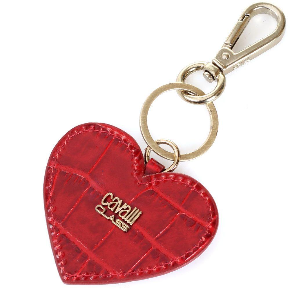 Брелок Cavalli Class красного цвета в форме сердца
