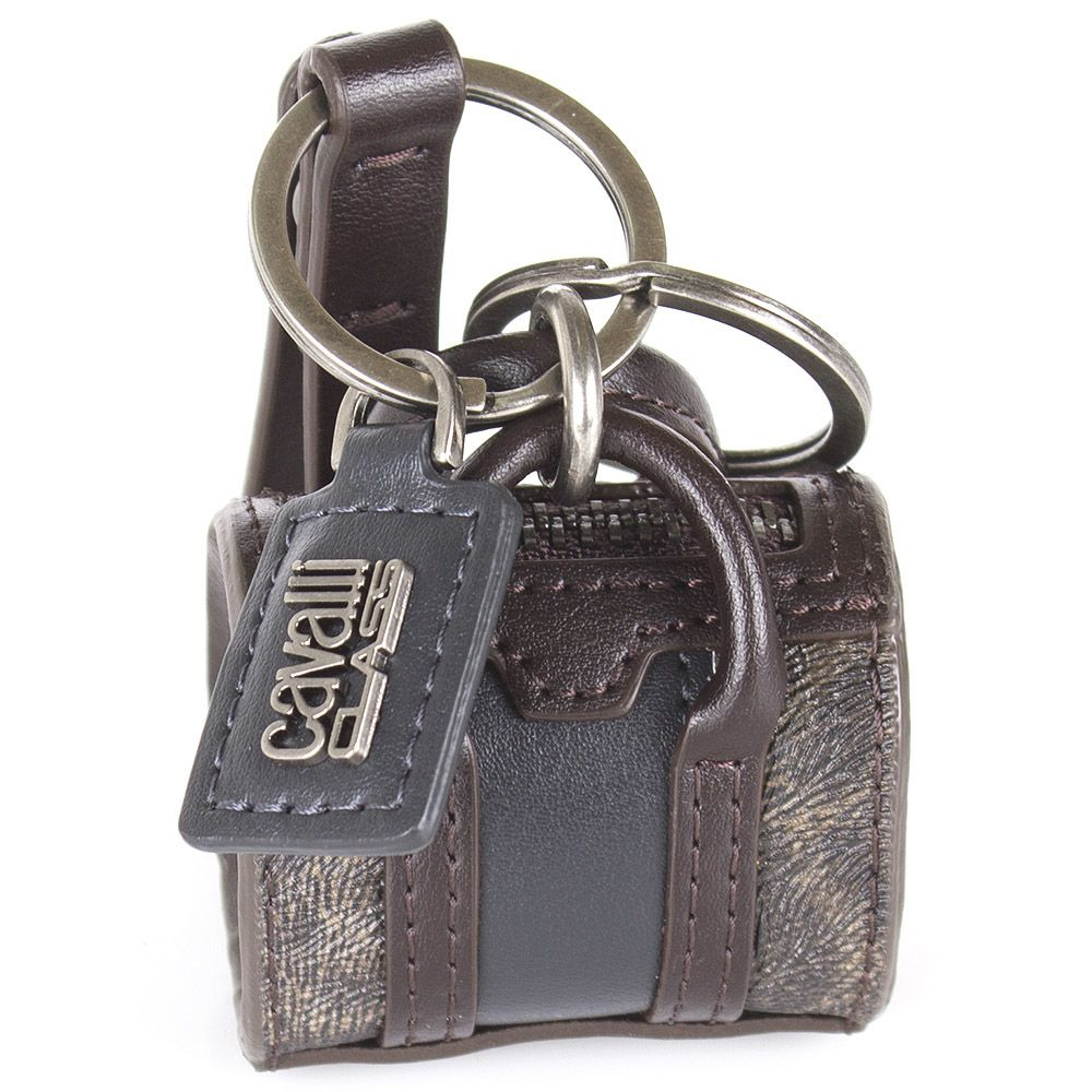Брелок Cavalli Class в виде сумочки коричневого цвета с леопардовыми вставками