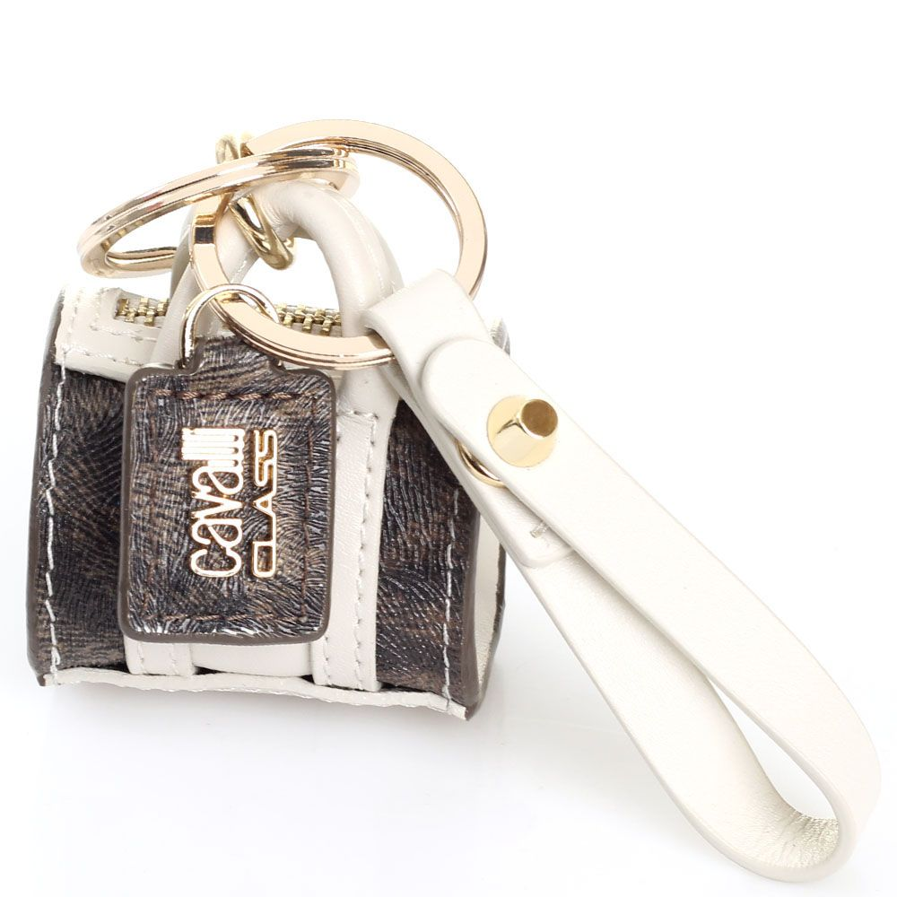 Брелок в форме сумочки Cavalli Class белого цвета
