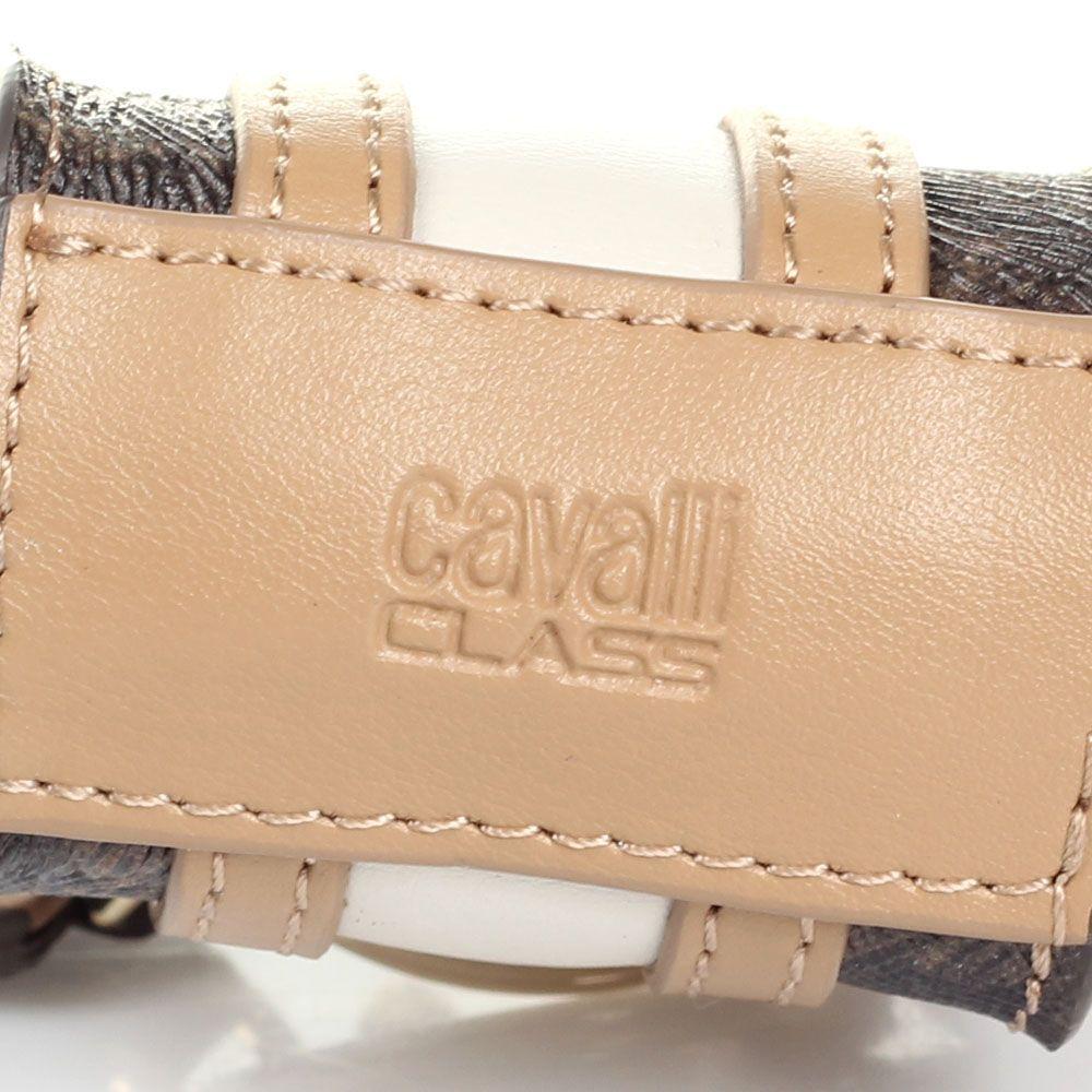 Брелок Cavalli Class в виде сумочки бежевого цвета с леопардовыми вставками