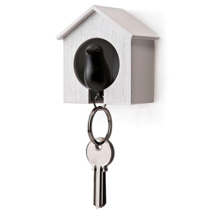 Настенная ключница с брелоком-свистком Qualy Sparrow белая с черным