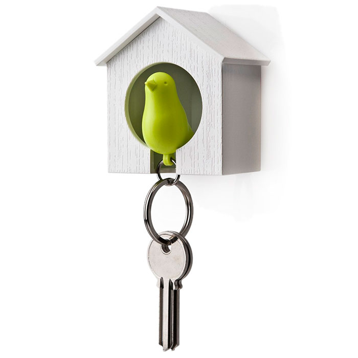 Настенная ключница с брелоком-свистком Qualy Sparrow белая с зеленым
