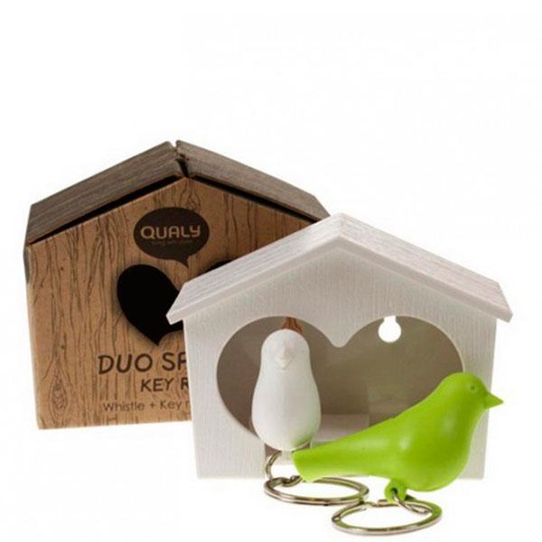 Настенная ключница с двумя брелоками Qualy Duo Sparrow Qualy белая с зеленым